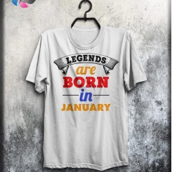 Customize Legends are born in January Birthday Printed Tees CP32012