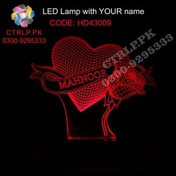 HD43009 Heart with Rose LED with your Customize Name