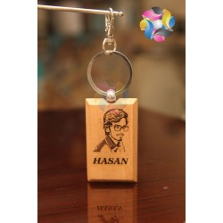 Customize image and name printed bothsides Wooden Keyring Keychain K78001