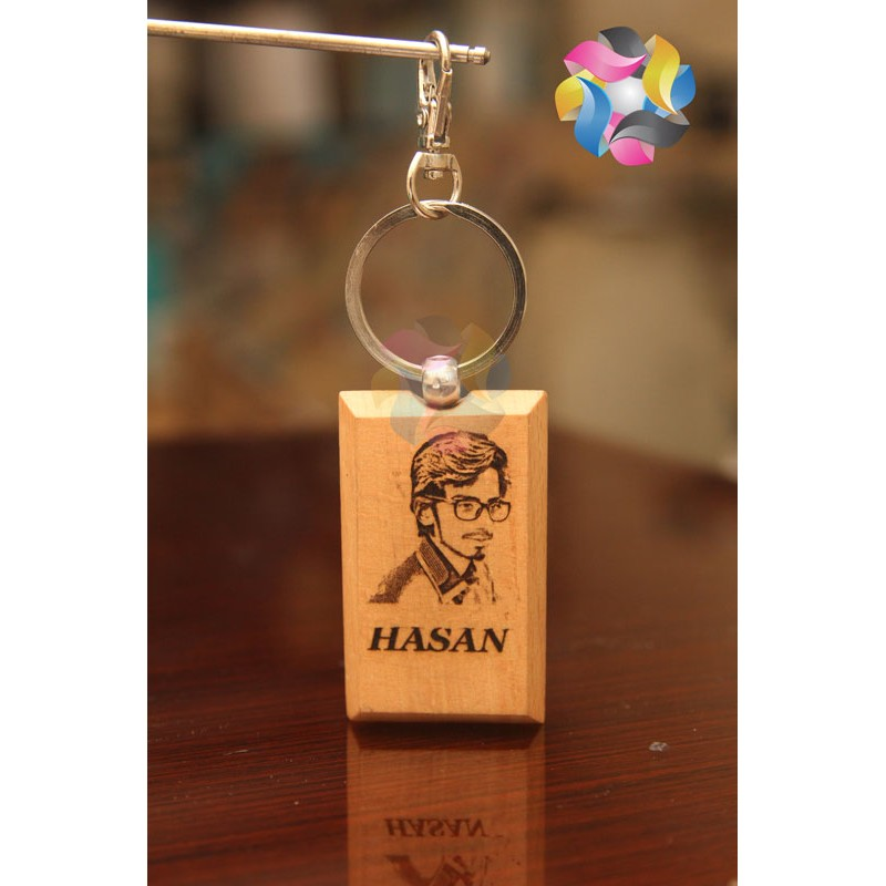 customize image and name printed bothsides wooden keyring keychain