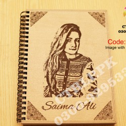 A5 Size Customize Image and Name on Wooden Notebook NT21005
