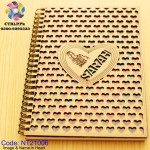 A5 Size Customize Image and Name on Heart of Wooden Notebook NT21006