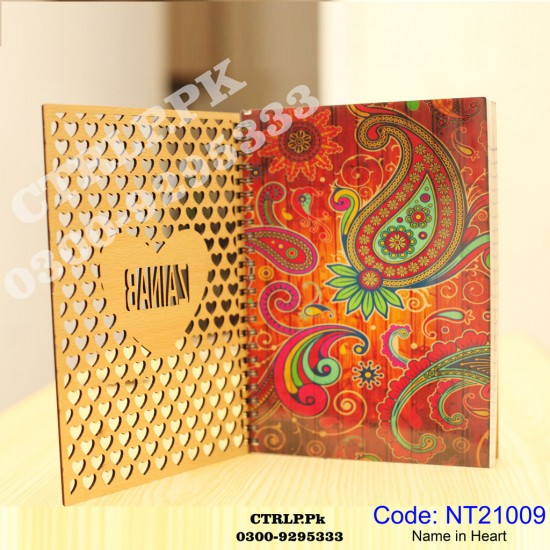 A5 Size Customize Name written in Heart of 3D Wooden Notebook NT21009