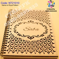 A5 Size Customize Name on Royal Pattern 3D Wooden Notebook NT21010