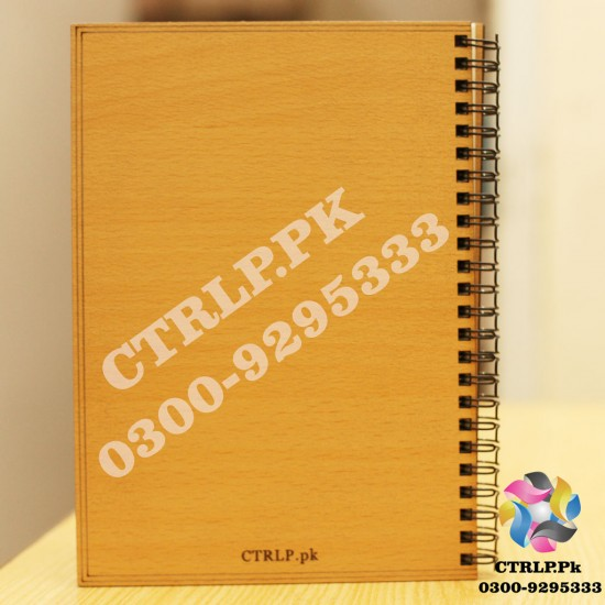 A5 Size Customize Name on 3D Heart Pattern Wooden Notebook NT21011