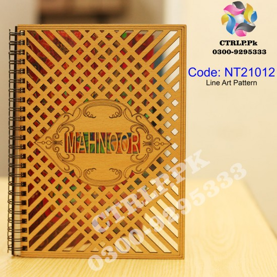 A5 Size Customize Name on 3D Line Work Wooden Notebook NT21012